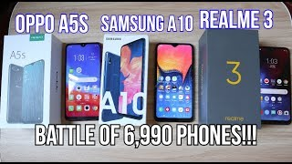 OPPO A5S Vs. SAMSUNG A10 Vs. REALME 3 (SPECS, GAMING, BATTERY, HEATING & CAMERA)
