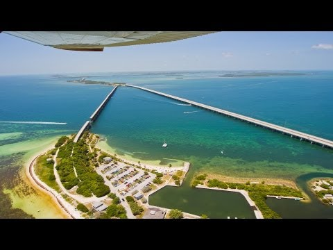 Flight over Key West, Bahia Honda Bridge and the Florida Keys