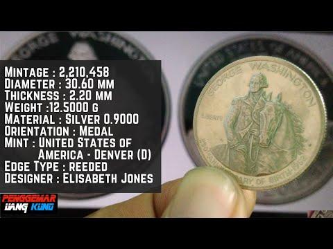 Uang Kuno & Langka Coin 1982 D George Washington Silver Commemorative Half Dollar Proof