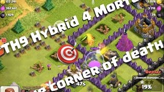 The corner of death, 4 mortar TH9 Hybrid base design in Clash of Clans