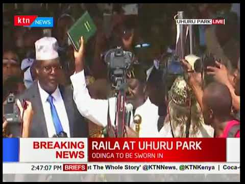 Raila Odinga sworn in at Nairobi's Uhuru Park as People's President