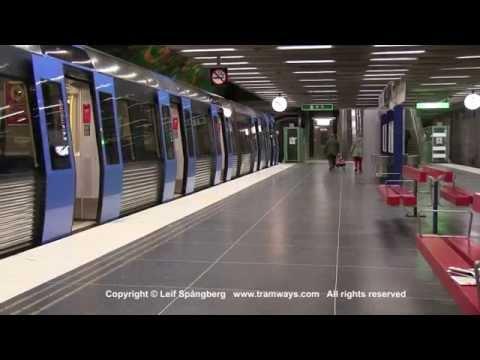 SL Tunnelbana tåg / Metro trains at Alby station, Stockholm, Sweden
