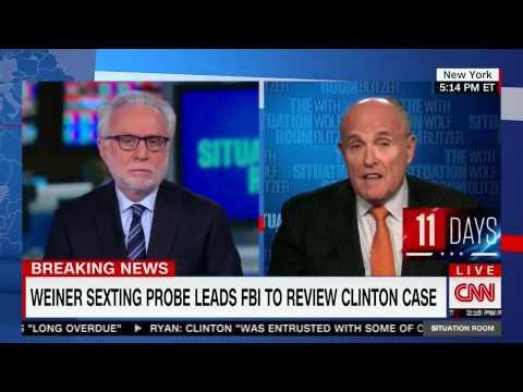 10/28/16 Rudy Giuliani shortcircuits CNN ROBOT Wolf Blitzer on NEW FBI Probe