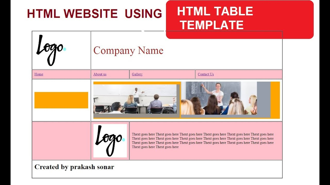 HTML WEBSITE TEMPLATE USING TABLE | CREATE WEBSITE USING TABLE TAG ...