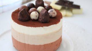 Торт Три шоколада / Triple Chocolate Mousse Cake(Ингредиенты на форму диаметром 16см!!! Р е ц е п т Шоколадный бисквит без муки: 1 желток 1 белок щепотка соли..., 2016-03-19T10:52:10.000Z)