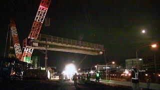 (仮称)綾瀬スマートインターチェンジ整備事業 東名を通行止めして橋を撤去