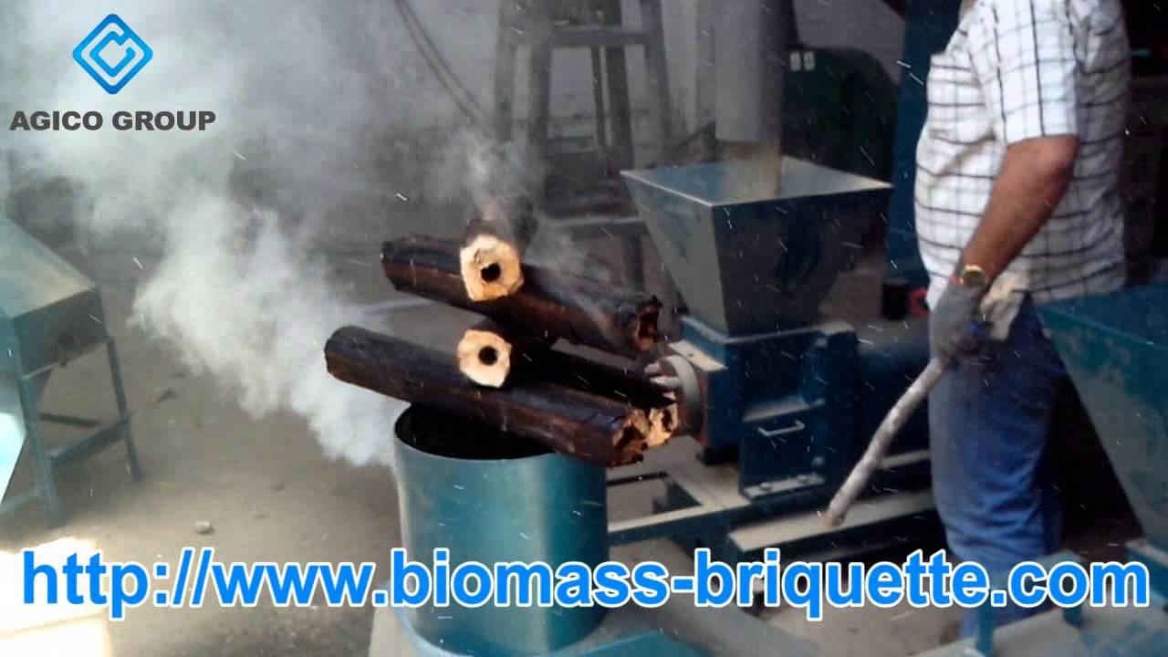 Used wood briquetting press machine making sawdust fuel