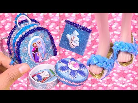 DIY Frozen 2 Doll Crafts Set : Miniature Handbag, School Supplies & Glitter Shoes