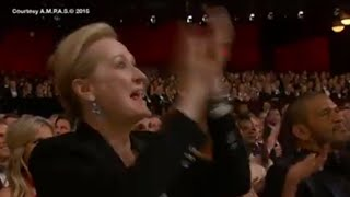 Repeat youtube video Meryl Streep Cheers Patricia Arquette's