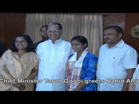 CM Tarun Gogoi greets Nahid Afrin, Sony TV's 'Indian Idol Junior' runner-up