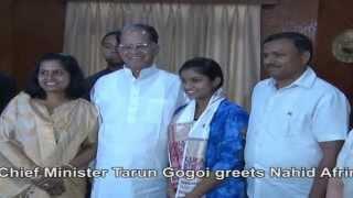Cm Tarun Gogoi Greets Nahid Afrin, Sony Tv's 'indian Idol Junior' Runner-up