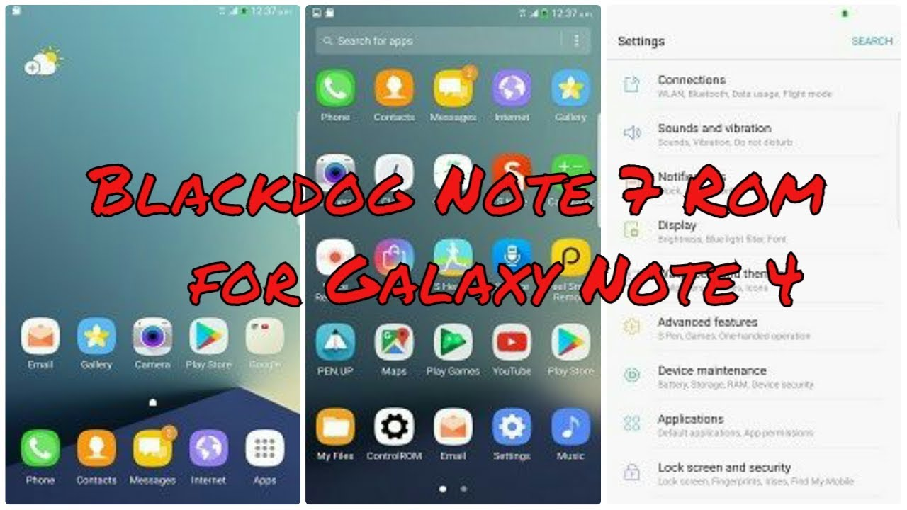 [Quick overview] Black Dog v8 N7 Full Port for Galaxy Note 4 N910F/G/P/T/V  #Note4Roms by Vinay Jhinkoe