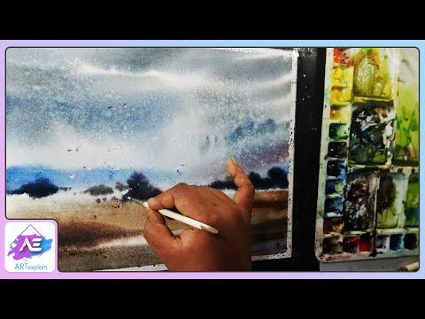 Rainy watercolor landscape painting lesson by Art Explain