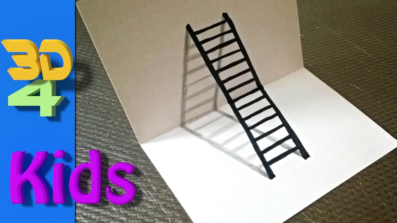 easy 3d drawing draw LADDER step by step for kids and ...