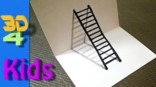 easy 3d drawing draw LADDER step by step for kids and beginners