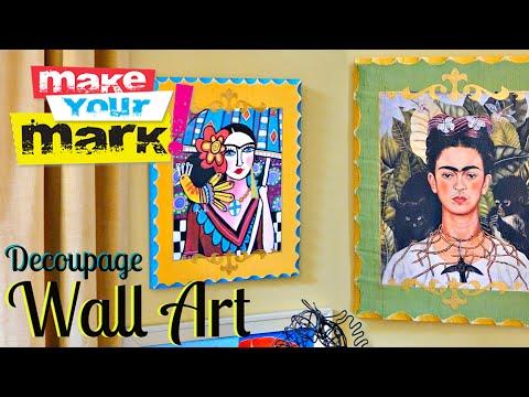 How to: Decoupage Wall Art - YouTube
