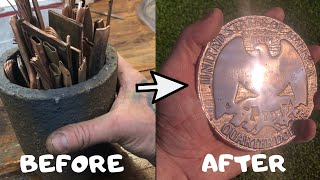 Huge 1kg Copper Quarter Cast From Scrap - Coin Casting - ASMR Metal Melting