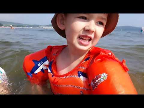 Самое теплое море, отличное место для детей. Жорик с Акулиной целый день в воде. Влог.