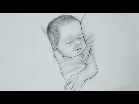 Pencil drawing of cute baby sleeping   baby face drawing ...