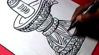 How to Draw SHIVA LINGAM mahadeva DRAWING step by step for kids