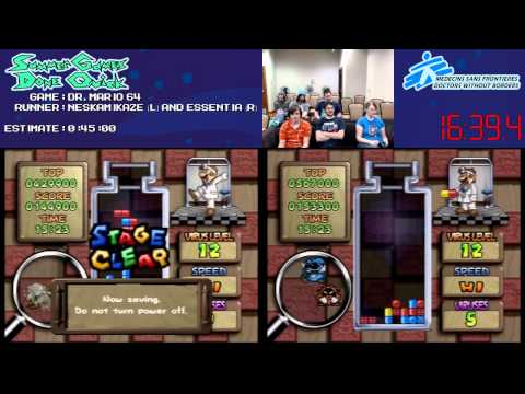 Dr. Mario 64 Speed Run Race (0:39:32) at #SGDQ 2013 [N64]