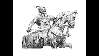 How to draw Shivaji Maharaj on horse pencil drawing step by step