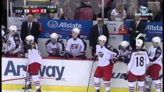 Artem Anisimov injury Feb 21 2013 Columbus Blue Jackets vs Detroit Red Wings NHL Hockey