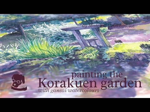 Painting the Korakuen garden with gansai watercolours