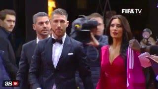 Leo Messi y Antonella Roccuzzo y  Sergio Ramos y Pilar Rubio en la Red Carpet