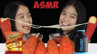 ASMR HOT CHEETOS MOZZARELLA CORN DOG | Tran Twins