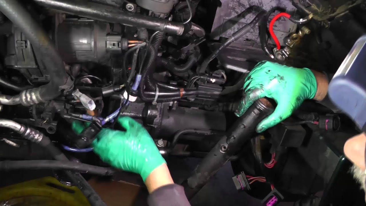 volkswagen jetta vr6, removal of coolant pipe, oil filter canister assy,  oil cooler - part 2
