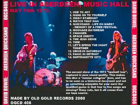 David Bowie Music Hall Aberdeen may 16th 1973 ( audio )