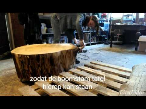 Tafel Van Boomstam : Hoe wordt een boomstam tafel gemaakt youtube