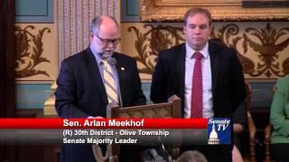 Sen. Meekhof honors Chad Arnold at the Michigan Senate