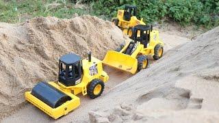 รถก่อสร้างตัดถนนผ่านซอกเขา รถบดถนน รถเกรด รถตักดิน รถดั้ม Road Construction