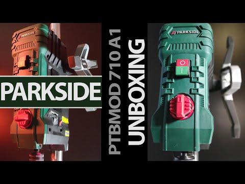 Unboxing Parkside taladro de banco o columna electrónico. Modelo PTBMOD 710 A1.