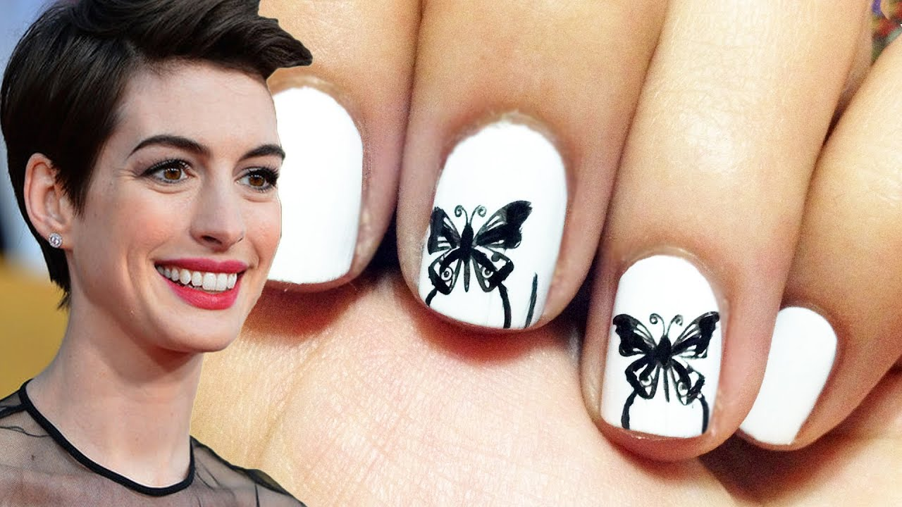 Anne Hathaway\'s Butterfly Nail Art At The SAG Awards - YouTube