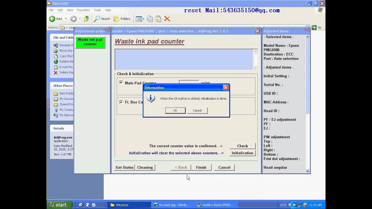 RESET PMG4500 resetter Waste ink pad counter - YouTube