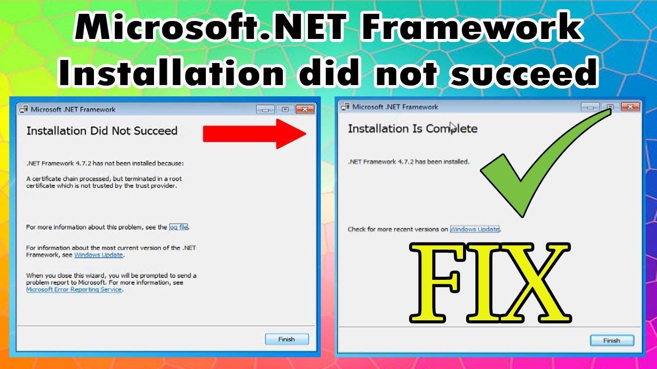 How to fix Microsoft .NET Framework 200.200.20 Installation did not ...