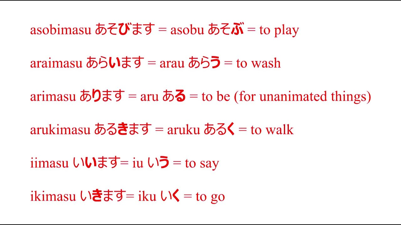 The dictionary form of verbs of the first group in Japanese, and ...