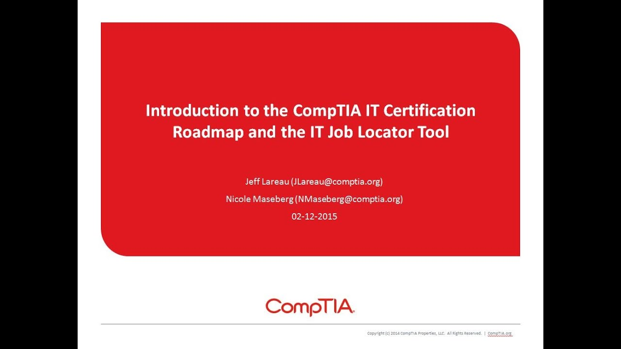 Introduction To The Comptia Certification Roadmap And It Job Locator