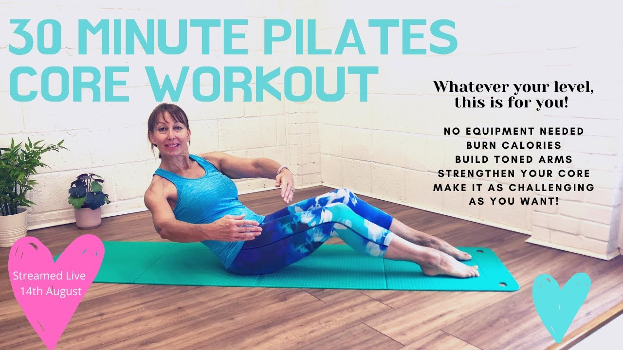 30 Minute Pilates Core Workout- Full Body Session for all Levels. No Equipment Needed