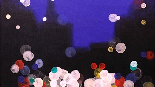 City Lights at Night Step by Step Acrylic Painting on Canvas for Beginners