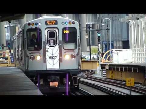 "CTA Transit: 2009-10 Bombardier 5000 Series ""L"" Cars Green Line Train at Randolph/Wabash Station"