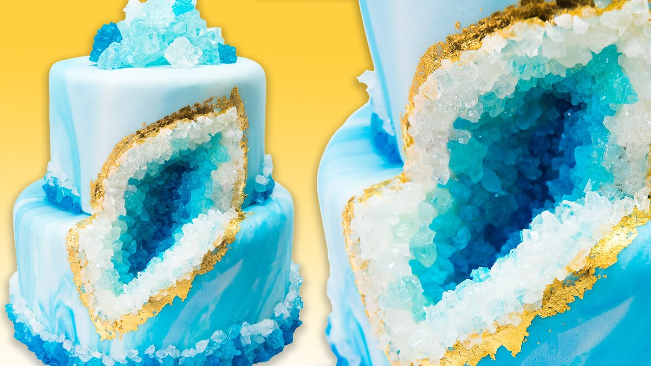 How To Make A Geode Cake Geode Wedding Cake With Rock Candy Youtube