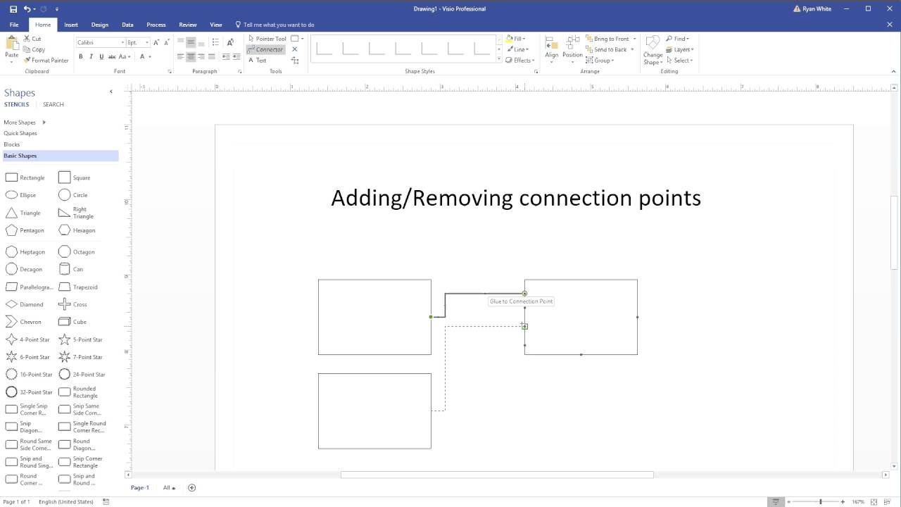 Add or Remove connection points in Visio 2016