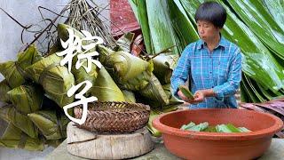 摘一筐新鲜粽叶,大妈包10斤福建风味的大肉粽,粽香弥漫整个端午!【是晓晓杨呀】