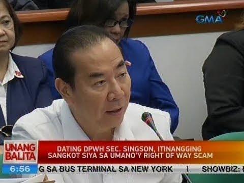 UB: Dating DPWH Sec. Singson, itinangging sangkot siya sa umano'y right of way scam