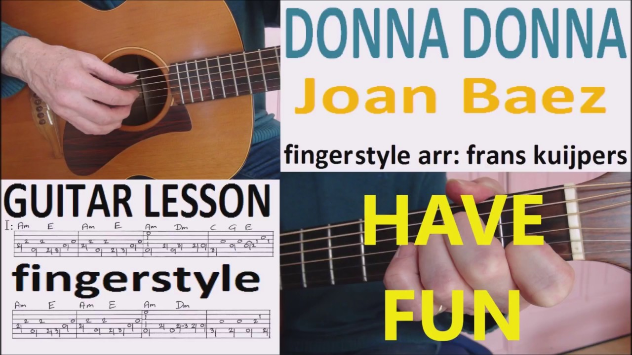 Donna Donna Fingerstyle Joan Baez Guitar Lesson Youtube