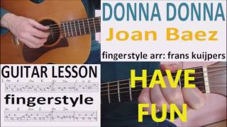 DONNA DONNA - FINGERSTYLE - JOAN BAEZ -  GUITAR LESSON